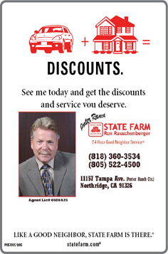 State Farm - Ron Rauschenberger - (818) 360-3543 (808) 522-4500 11157 Tampa Ave. (Porter Ranch Ctr.) Northridge, CA 91326></p>